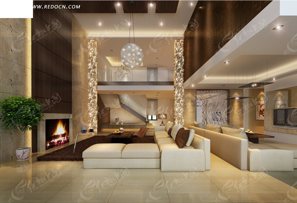 跃层式现代别墅客厅效果图图片