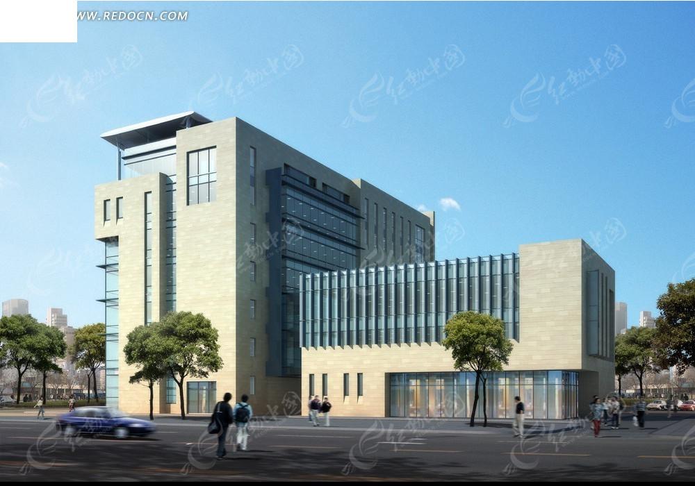 建筑效果图--蓝天下的米色调现代化大楼及周边配套建筑