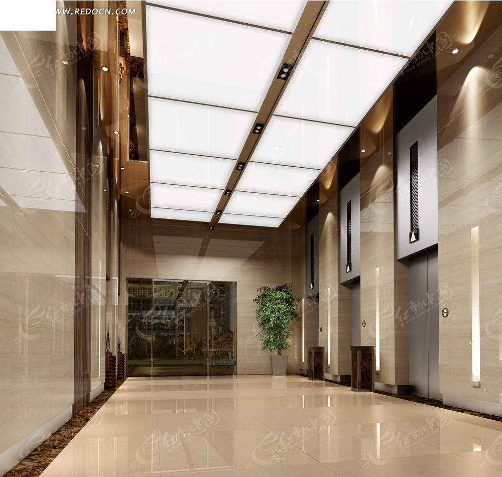 现代时尚商场电梯厅效果图高清图片