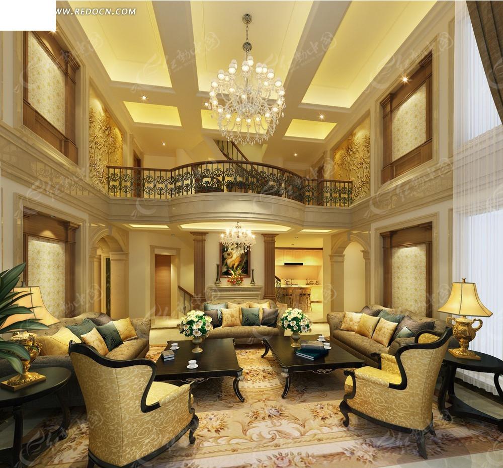 地中海风格别墅 三层别墅装修效果图 别墅室内设计效果图 淘宝助理