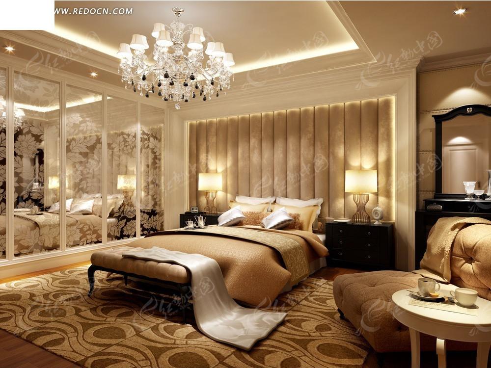 大床 床头柜 台灯 镜子 沙发 茶几 豪华水晶吊灯 室内设计 3d效果