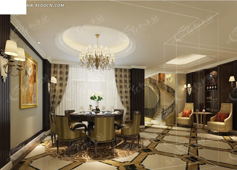 式欧式精致别墅餐厅效果图3dmax免费下载 室内设计素材高清图片