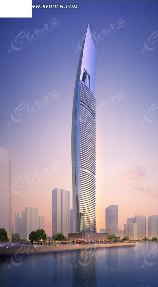 城市楼房效果图--傍晚滨湖的高层现代化建筑