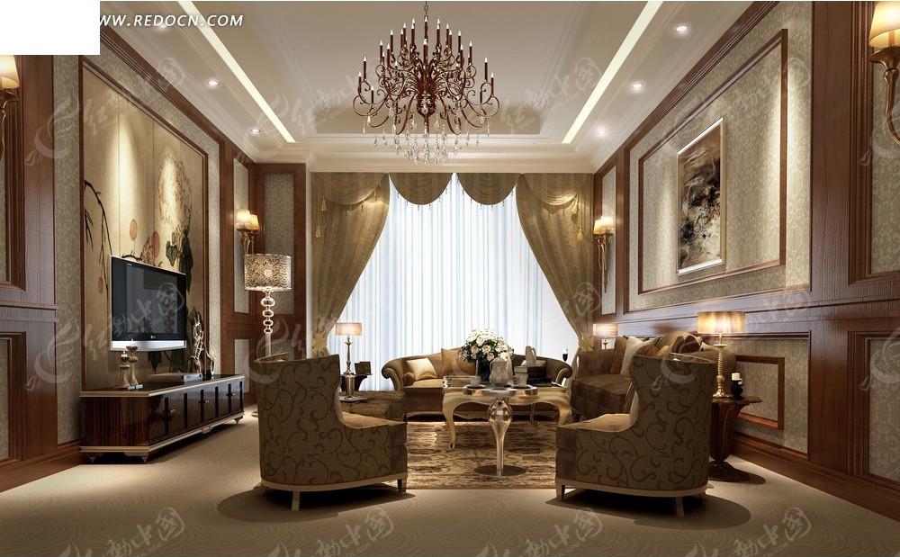 欧式咖啡色调客厅效果图图片