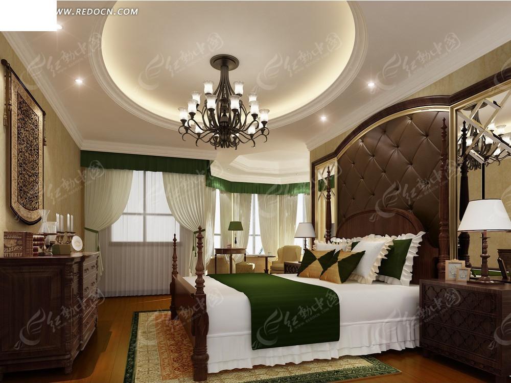 欧式咖啡色卧室效果图