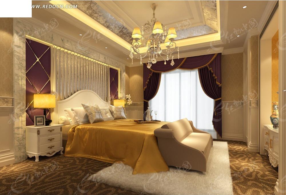 欧式暖色调      大床 床头柜 台灯 柜子 水晶吊灯 窗帘 室内设计 3d图片