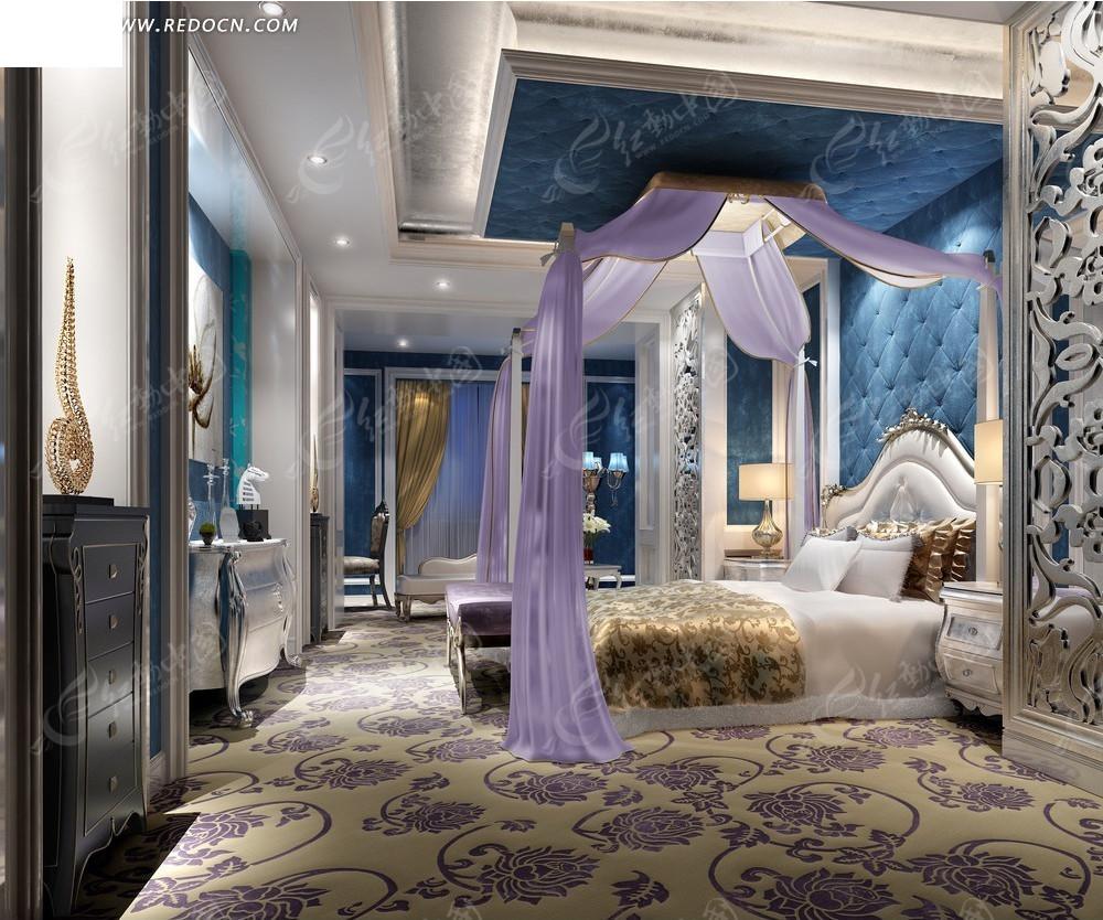 欧式紫色浪漫公主卧室效果图3dmax素材免费下载 编号2055325 红动网