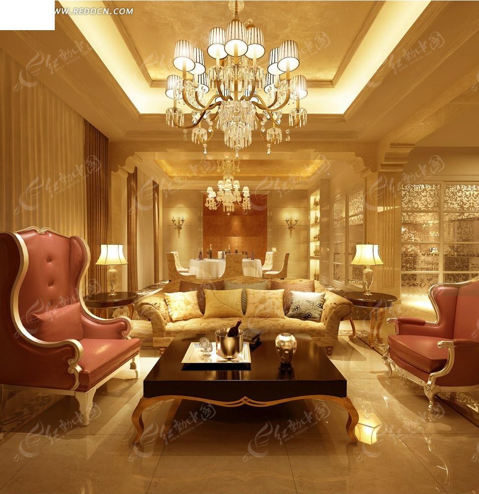 欧式华丽别墅客厅效果图
