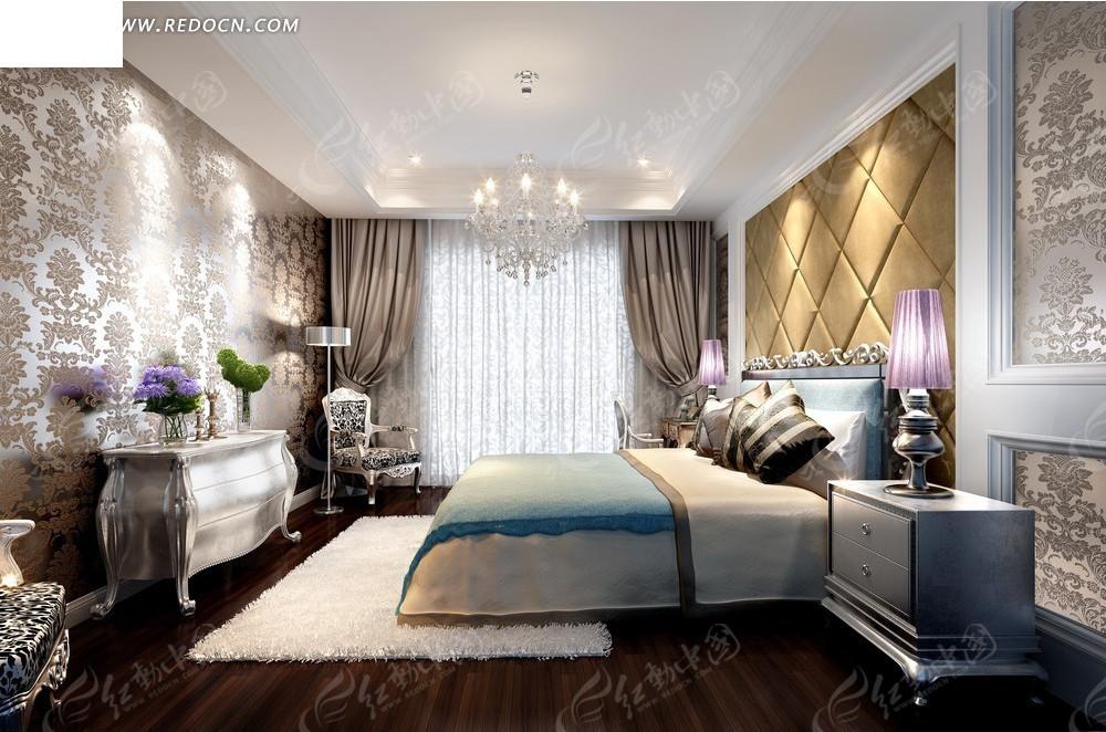 欧式花纹壁纸卧室效果图3dmax素材免费下载_红动网图片