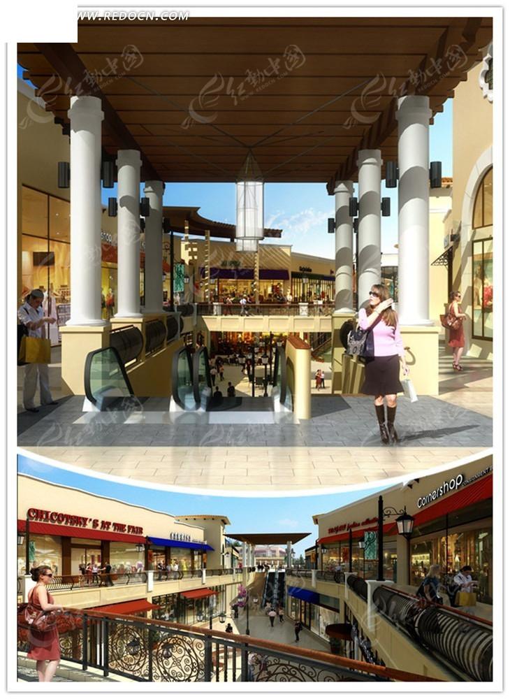 街道效果图__古典欧式风格步行街及周边商铺