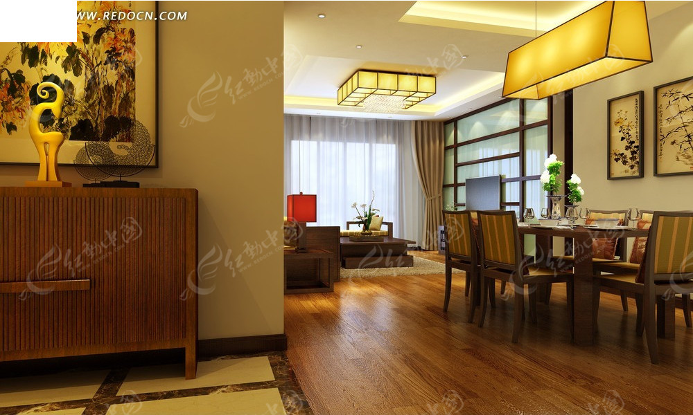 室內設計效果圖--古樸日式風格餐廳客廳設計