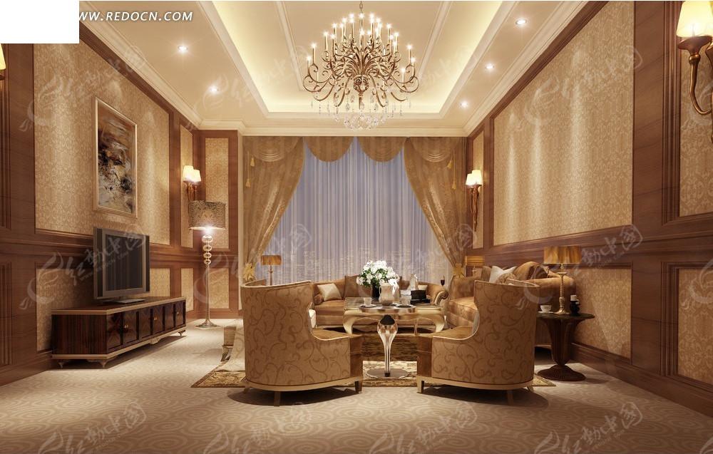欧式华丽精美客厅效果图