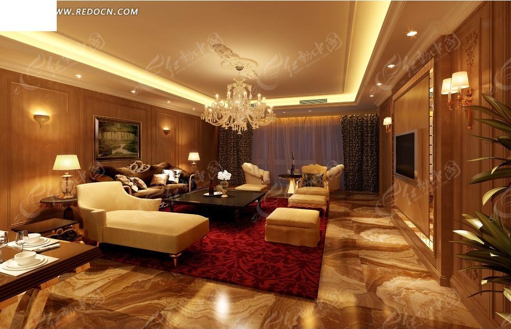室内设计效果图--带阳台的古典欧式风格客厅设计