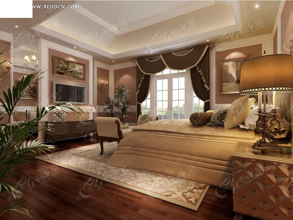 欧式暖色调豪华卧室效果图3dmax免费下载_室内设计素材