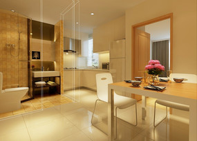 现代时尚开放式厨房餐厅卫生间效果图