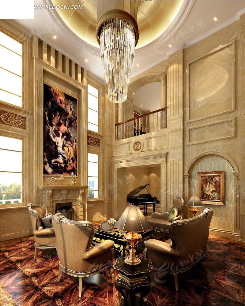 复式欧式华丽别墅客厅效果图