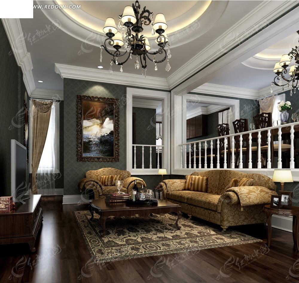 现代华丽 跃层式 别墅客厅 沙发 茶几 壁画 水晶吊灯 窗帘 室内设计 3图片