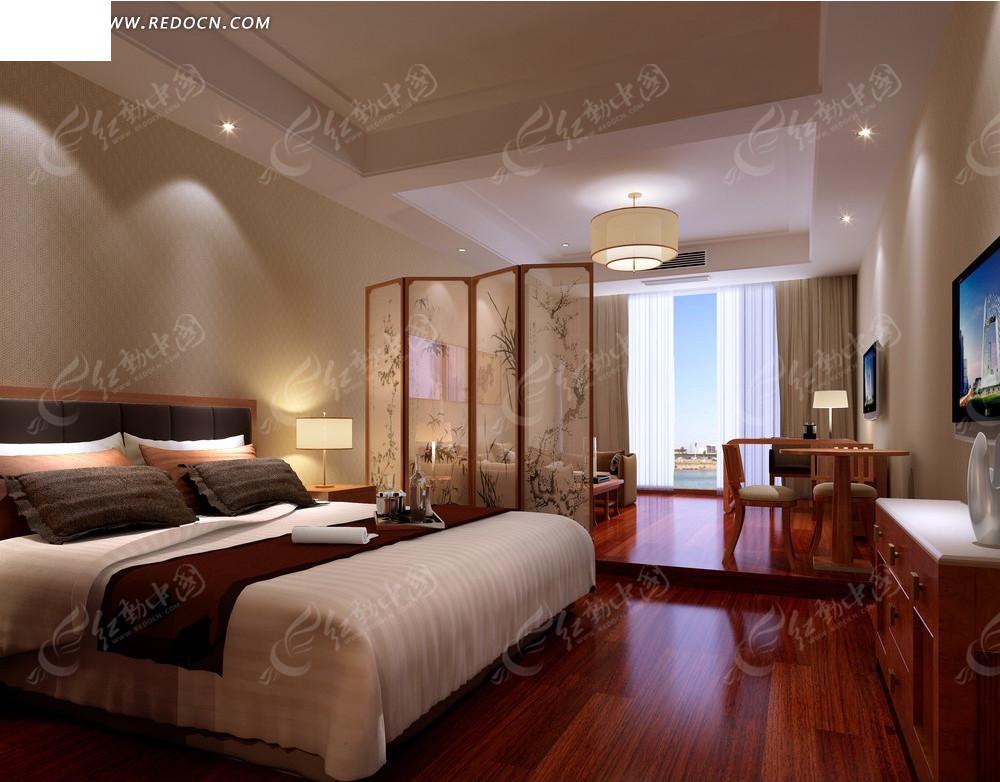 中式屏风隔断的卧室客厅效果图图片高清图片