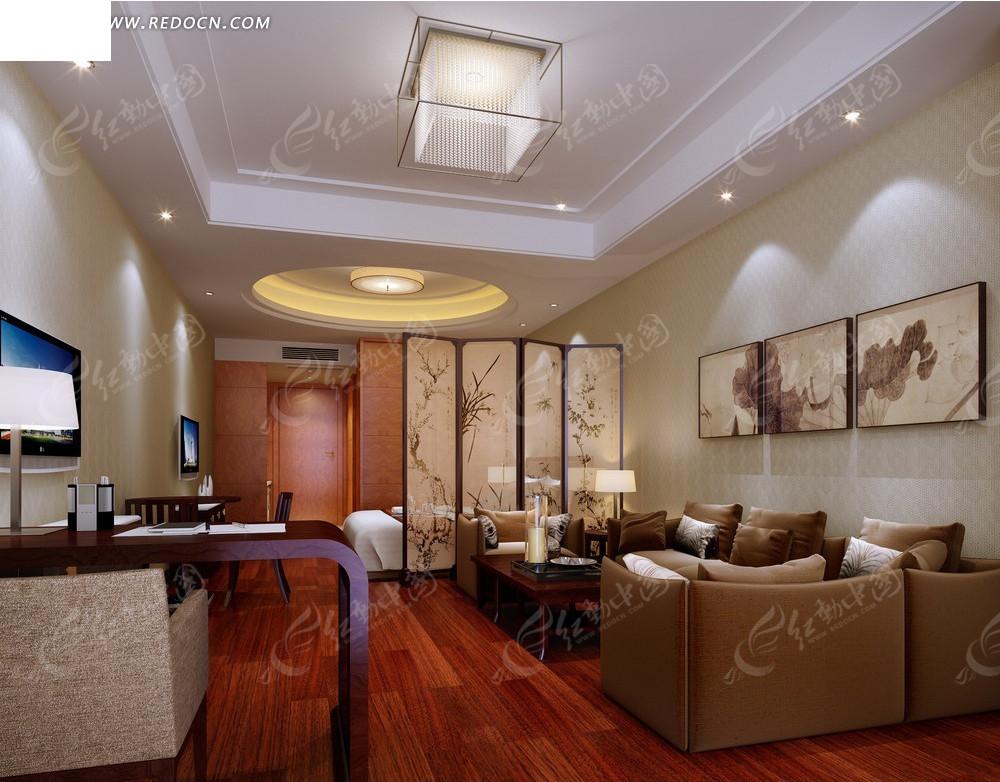 现代开放式客厅卧室效果图图片