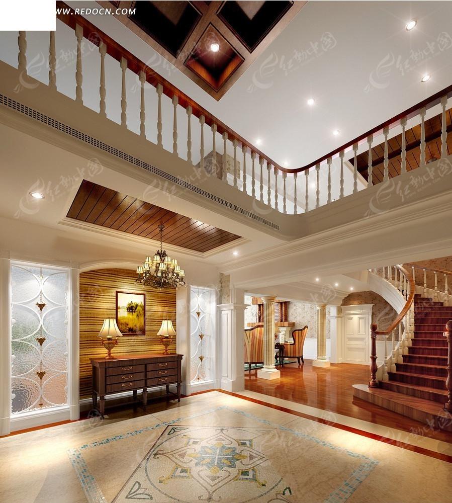跃层式欧式豪华别墅客厅效果图_室内设计_红动手机版