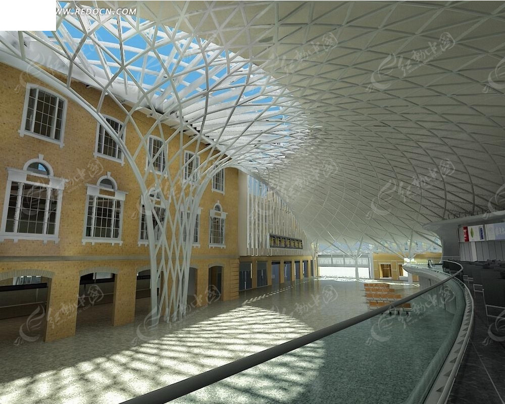白色钢结构屋顶建筑室内效果图