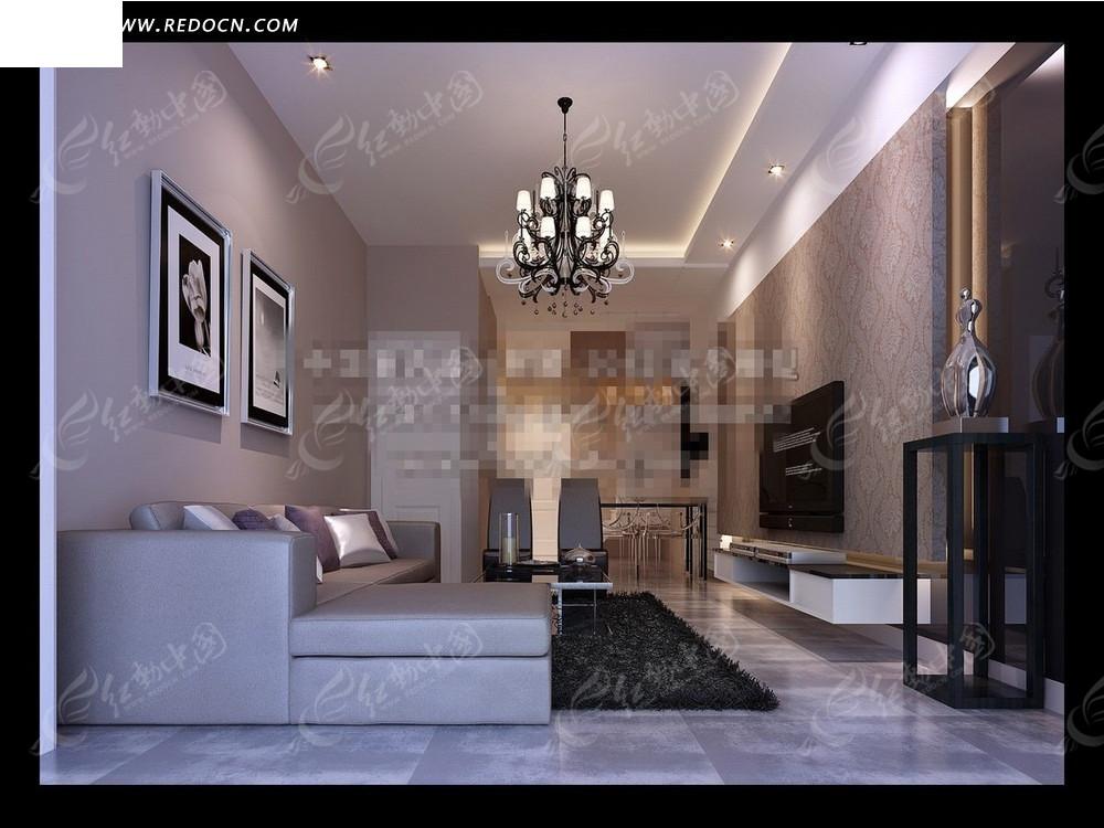 现代极简主义客厅效果图3dmax免费下载_室内设计素材