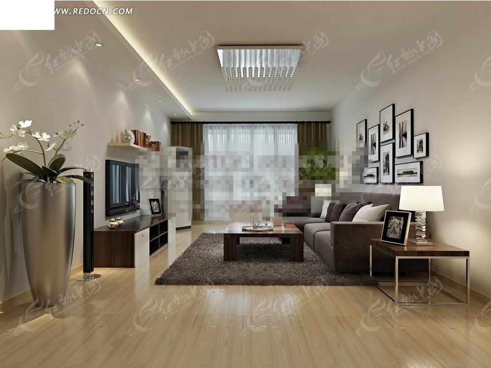 简约美家客厅效果图_室内设计