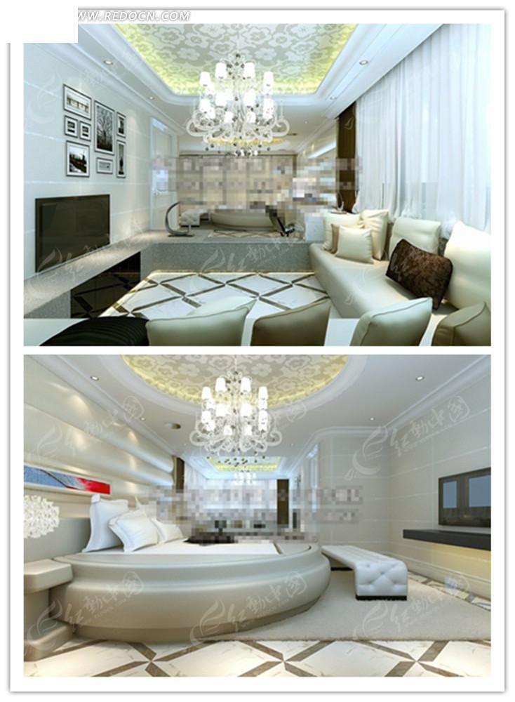 欧式精美客厅卧室效果图