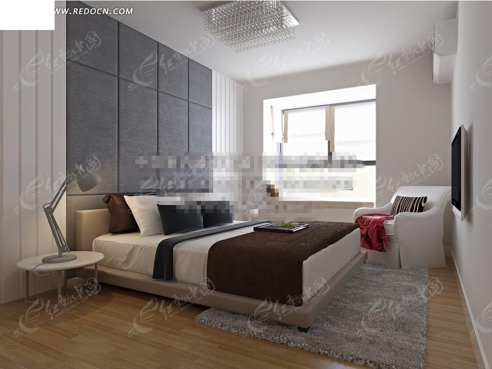 免費素材 3d素材 3d模型 室內設計 現代灰色地毯臥室效果圖  請您分享