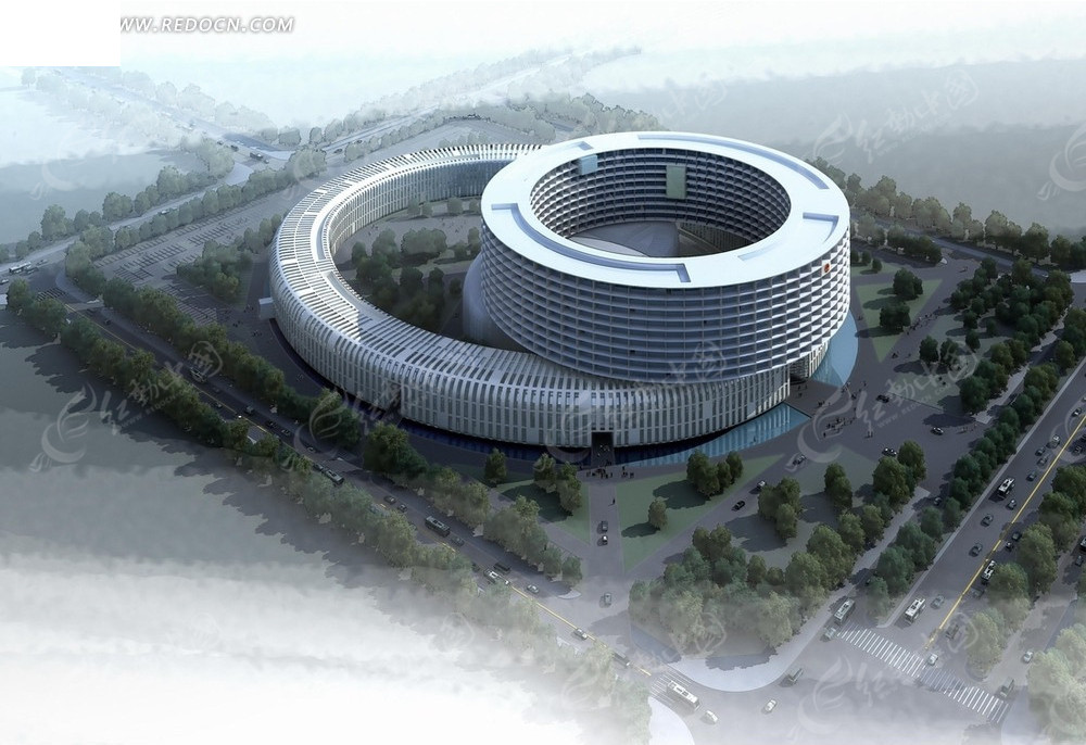 效果图—绿树道路和圆环形建筑俯瞰图psd分层素材