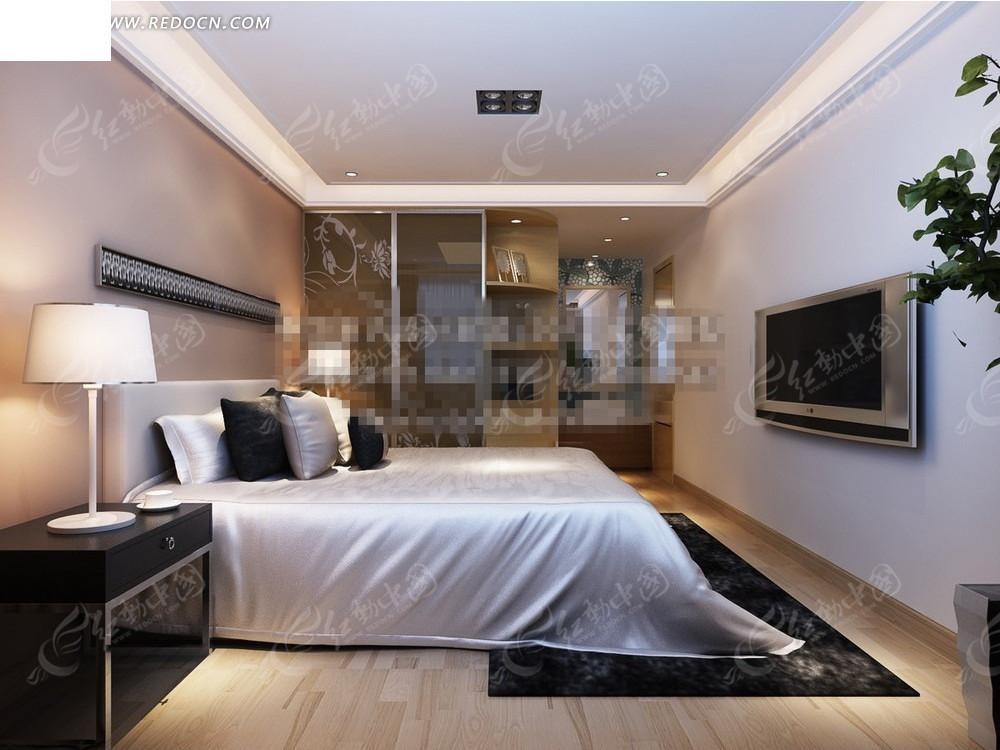 现代都市洁白卧室效果图