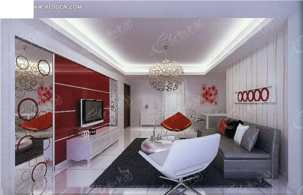 红色个性圆形装饰墙的客厅效果图