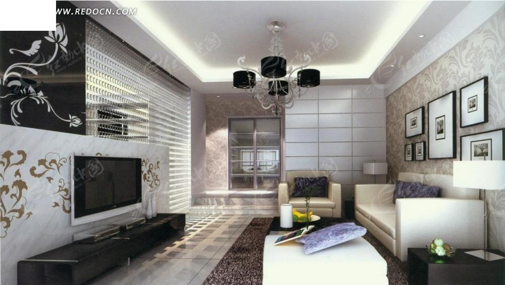 欧式花纹壁纸客厅效果图图片