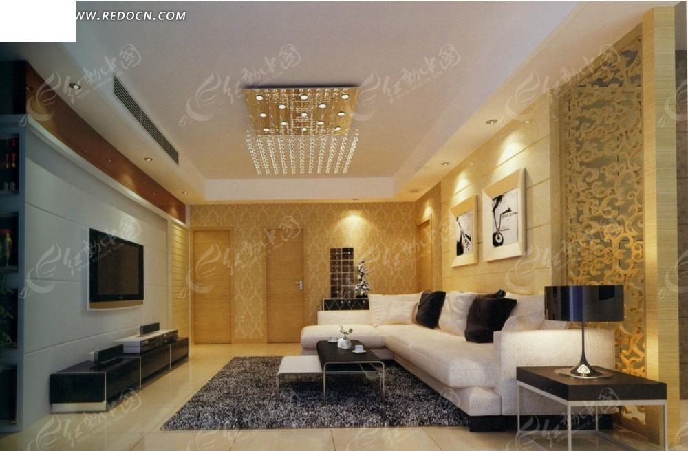 欧式金色花纹壁纸客厅效果图