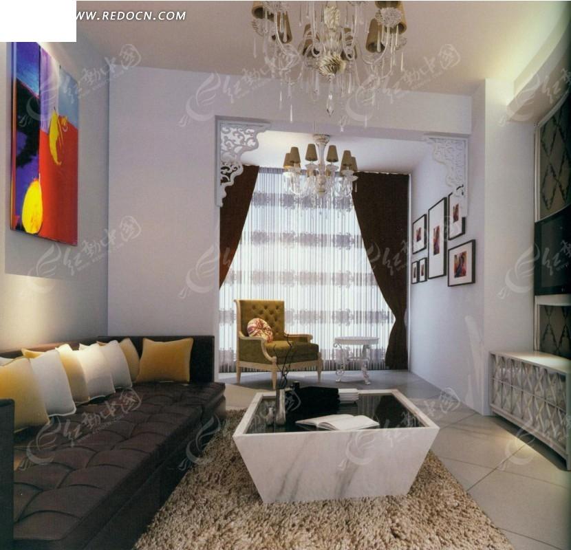 简约时尚客厅效果图_室内设计