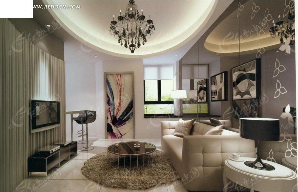素雅欧式时尚客厅效果图图片
