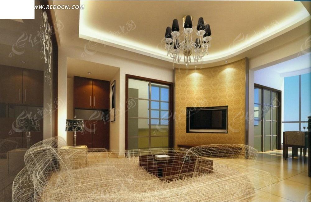 暖色调线条沙发客厅效果图3dmax免费下载_室内设计素材