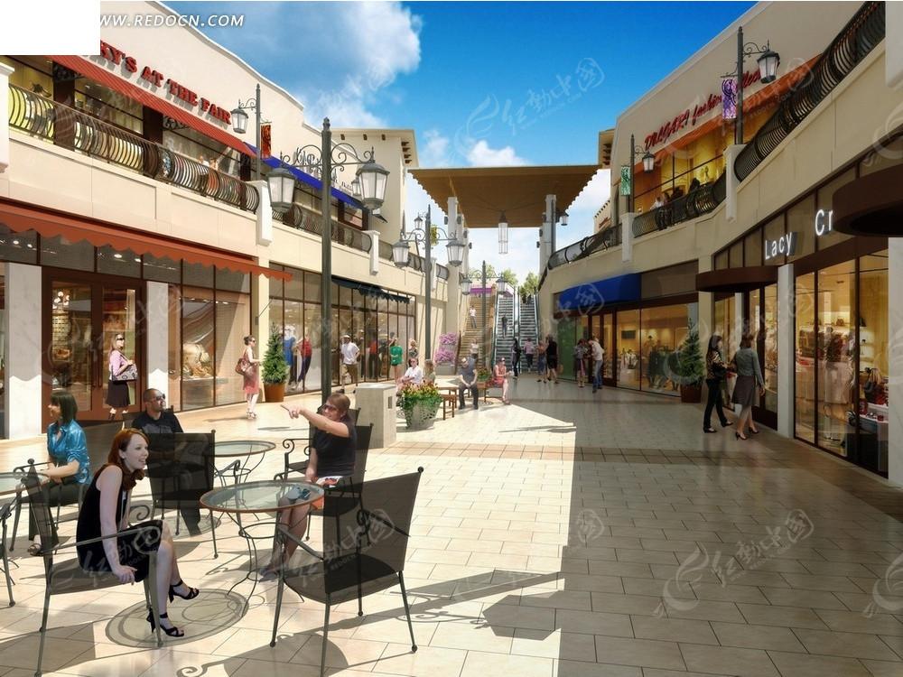 建筑效果图—步行街上的商店和桌椅psd素材