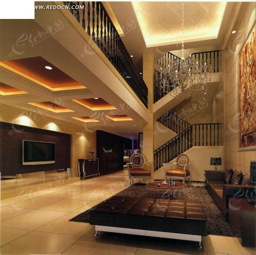 免费素材 3d素材 3d模型 室内设计 跃层式光采耀人别墅客厅效果图  请图片