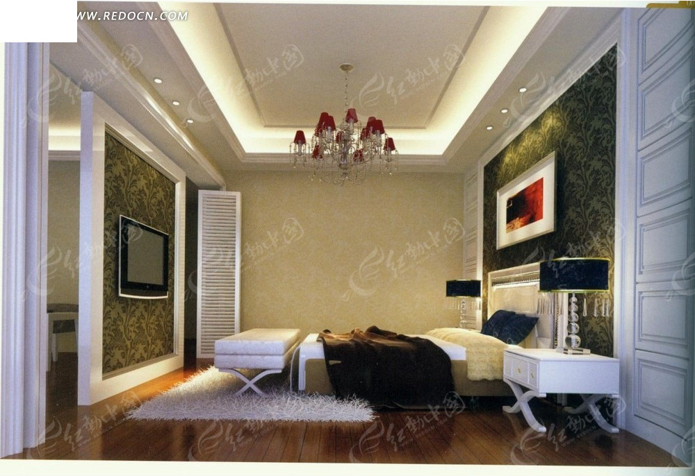 后现代简洁卧室效果图_室内设计