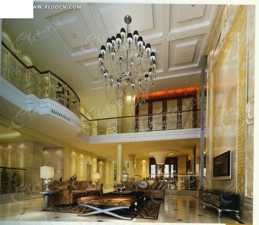 复式金灿灿华丽欧式客厅效果图图片