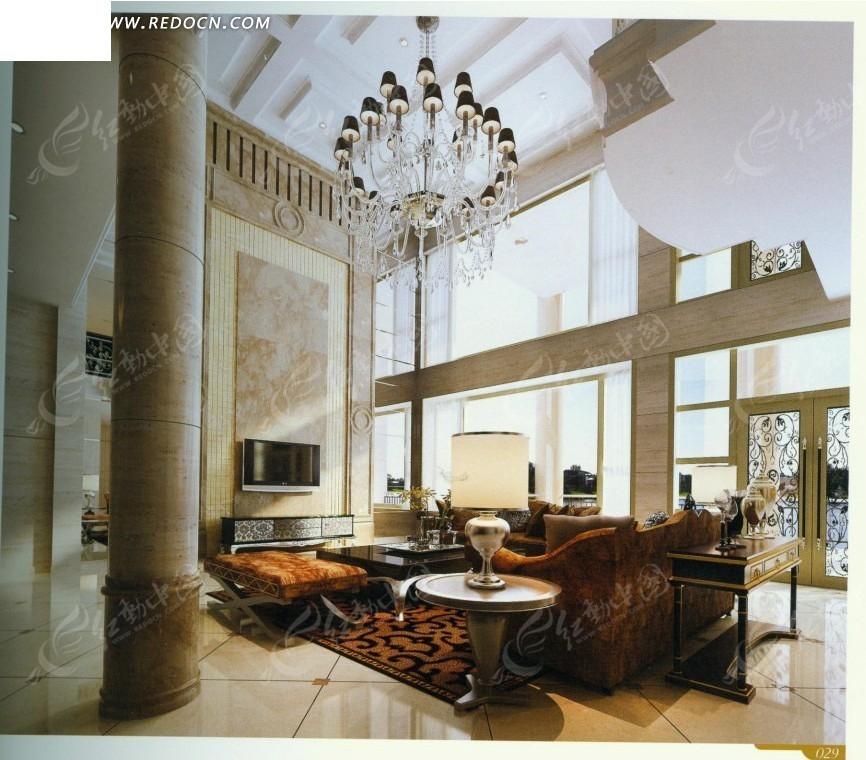 欧式奢华别墅客厅效果图图片