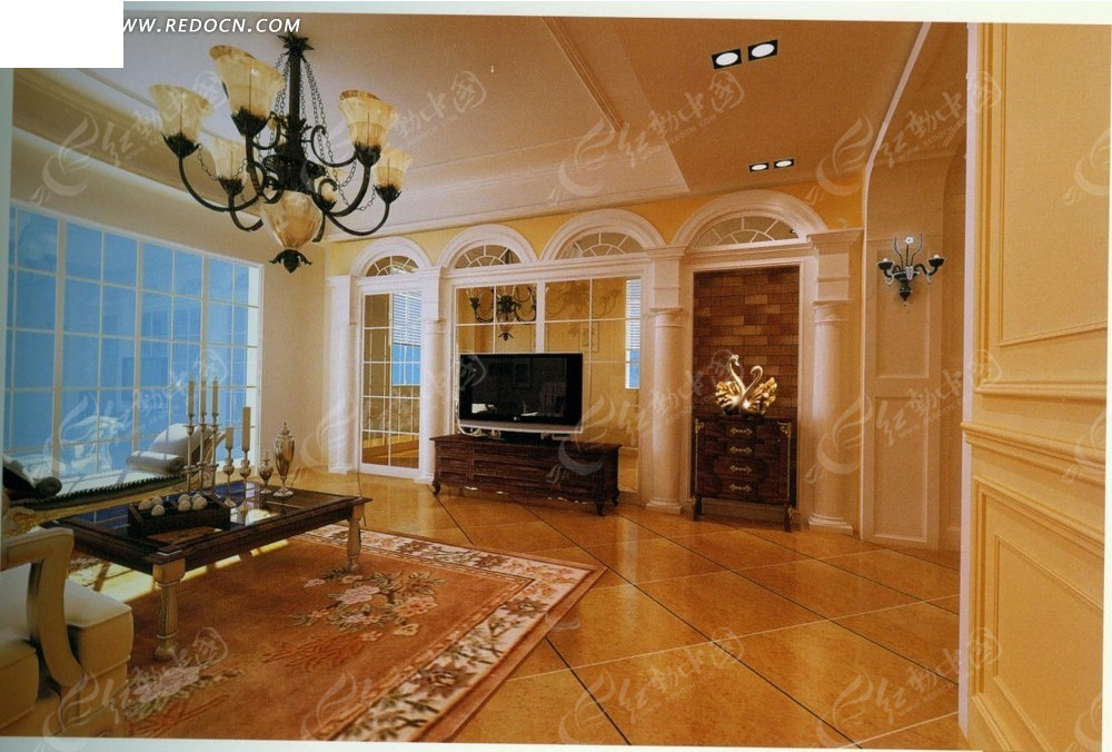 现代落地玻璃窗客厅效果图3dmax免费下载_室内设计素材