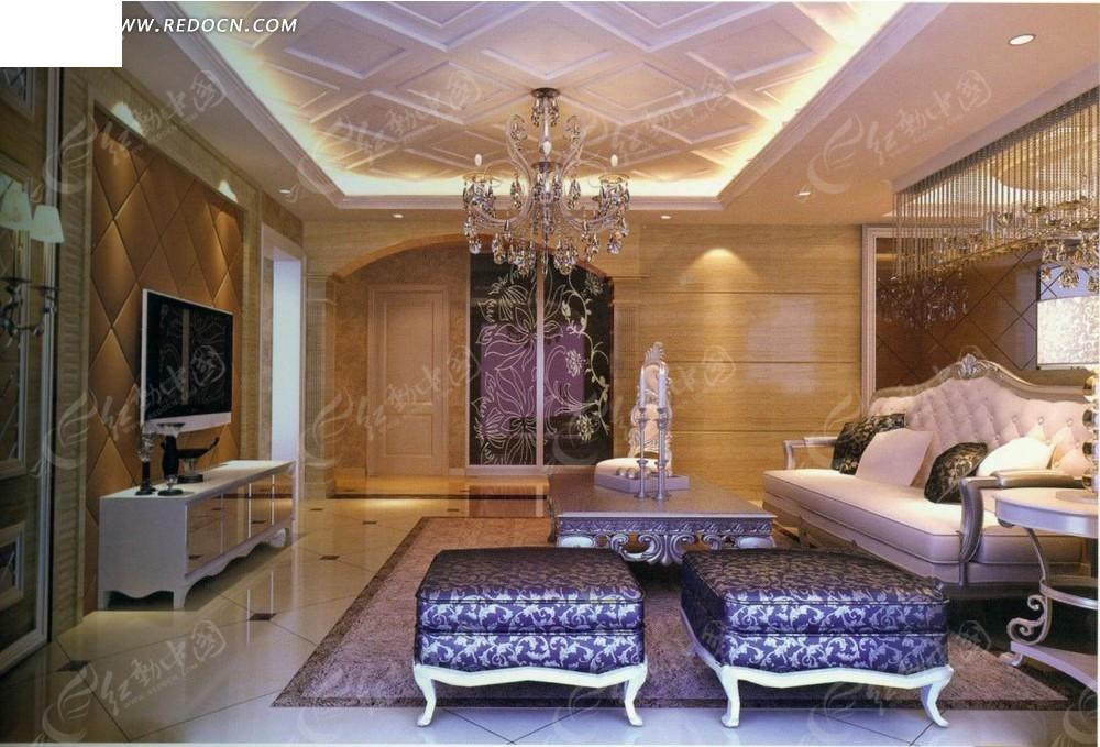 欧式小资      沙发 茶几 壁画 电视机 电视柜 台灯 水晶吊灯 室内图片