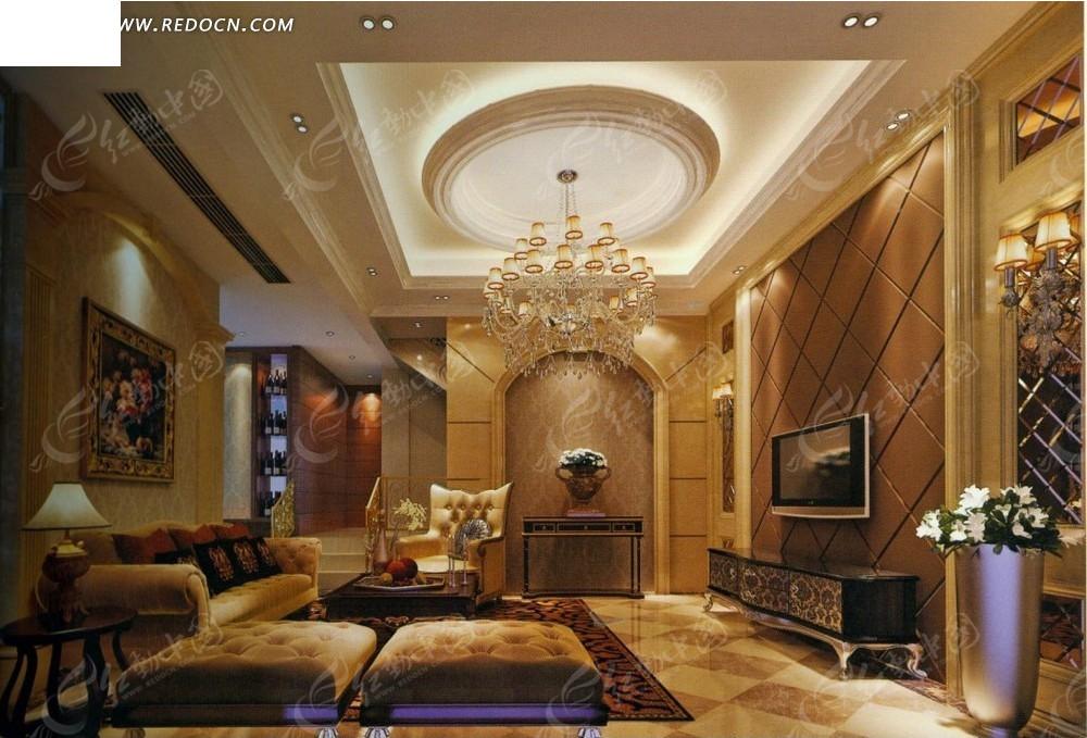 欧式豪华别墅客厅效果图