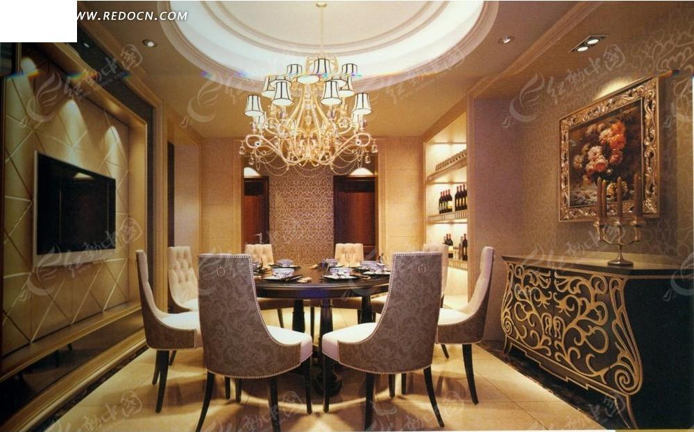 欧式花纹精美餐厅效果图3dmax免费下载 室内设计素材高清图片