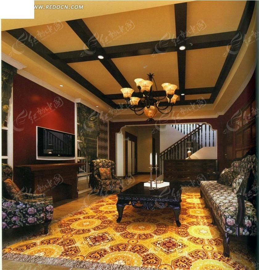 欧式白色地毯客厅效果图_室内设计_红动手机版