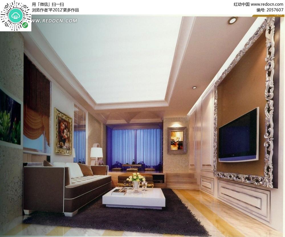 欧式雕花电视背景墙客厅效果图
