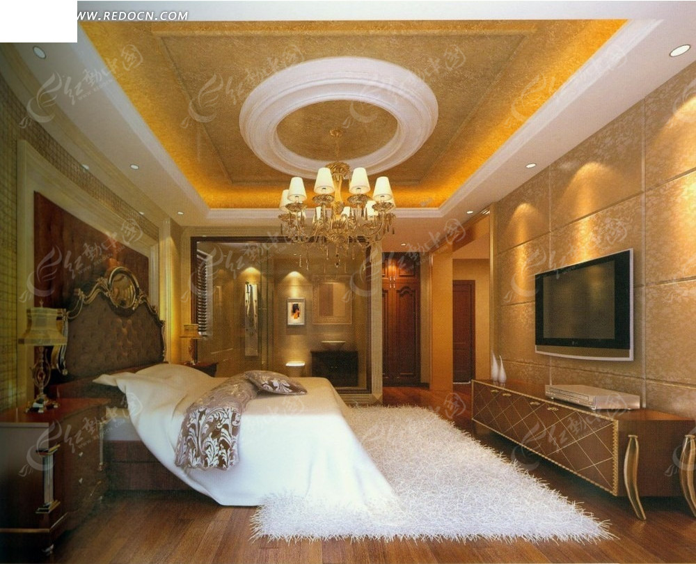 欧式暖色调白色地毯客厅效果图图片