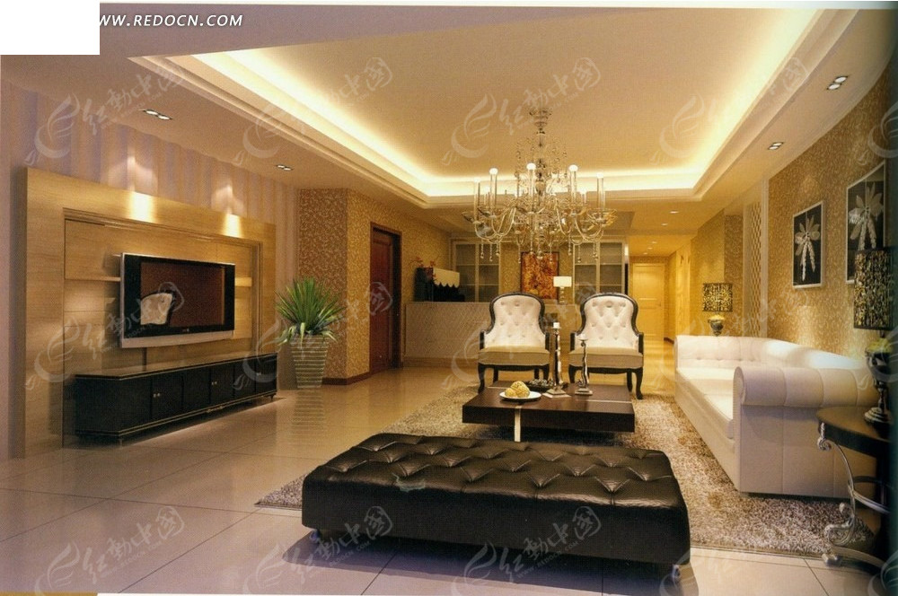 现代时尚黑白混搭客厅效果图_室内设计